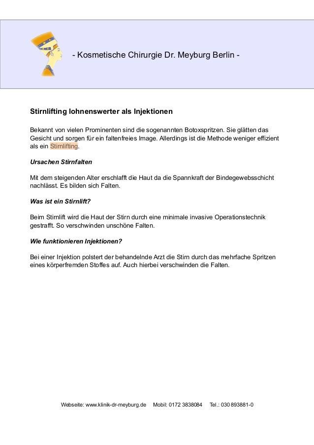 - Kosmetische Chirurgie Dr. Meyburg Berlin - Stirnlifting lohnenswerter als Injektionen Bekannt von vielen Prominenten sin...