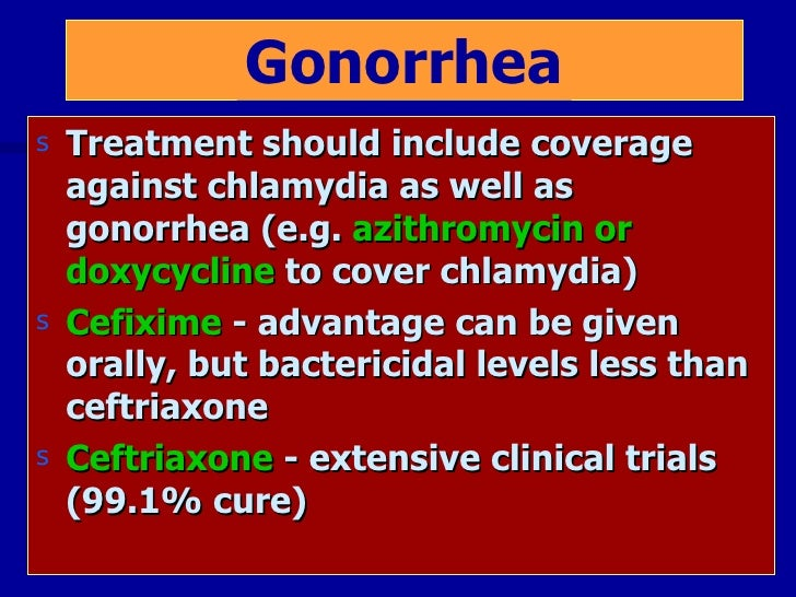 Cefixime Ceftriaxone Gonorrhea