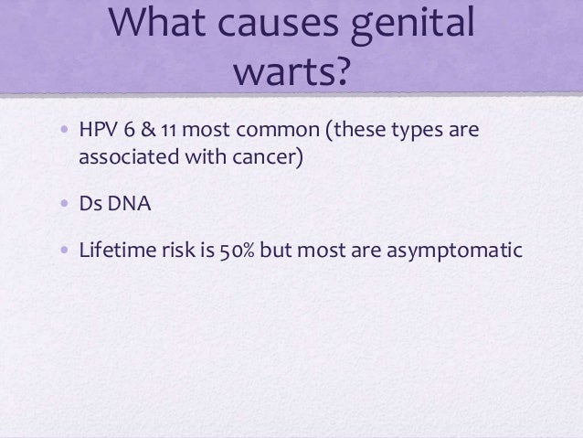 What causes genital warts? • HPV 6 & 11 most common (these types are associated with cancer) • Ds DNA • Lifetime risk is 5...