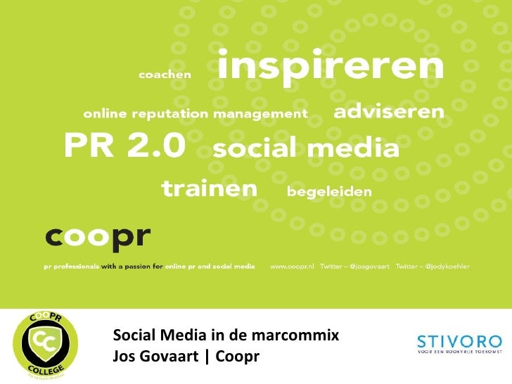 Social Media in de marcommix Jos Govaart | Coopr