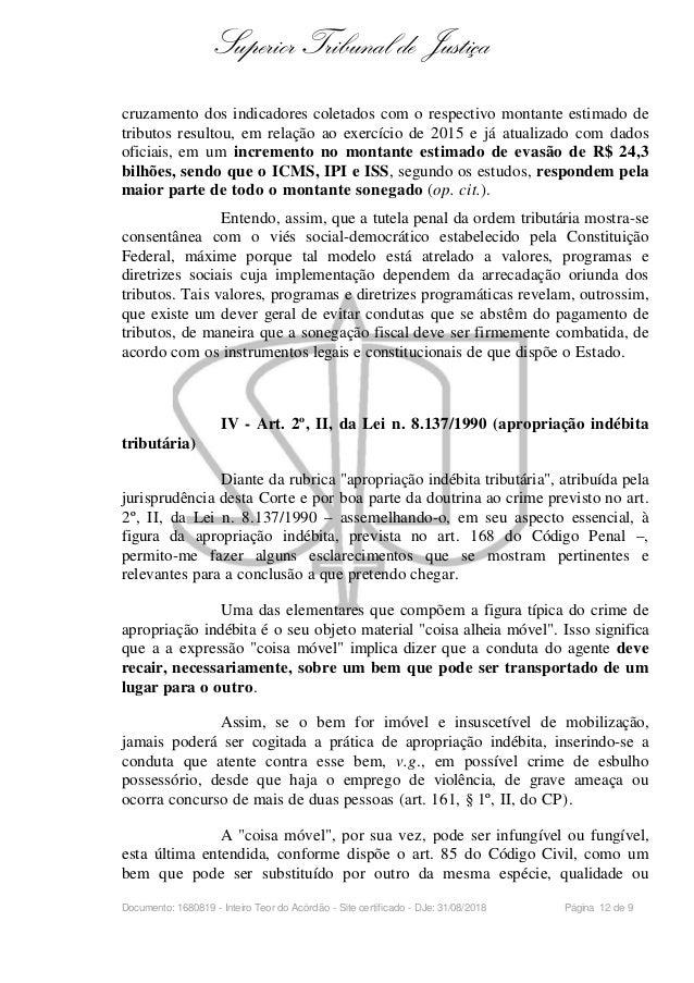 stj apropriação icms art 2, ii crime 3a seção hc 399 1092476 Artigo 168 Codigo Penal #13