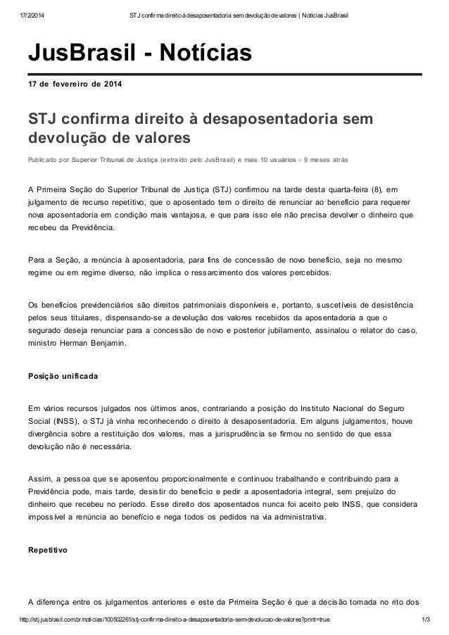 17/2/2014  STJ confirma direito à desaposentadoria sem devolução de valores | Notícias JusBrasil  JusBrasil - Notícias 17 ...