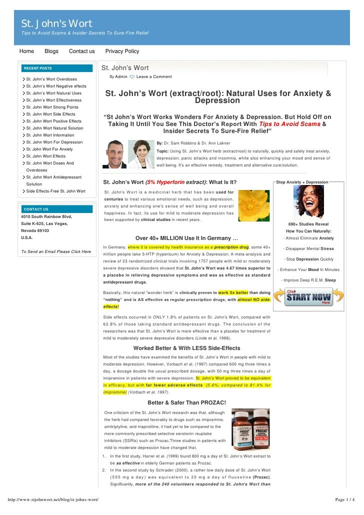 St. Johns Wort      Tips to Avoid Scams & Insider Secrets To Sure-Fire Relief     Home           Blogs        Contact us  ...
