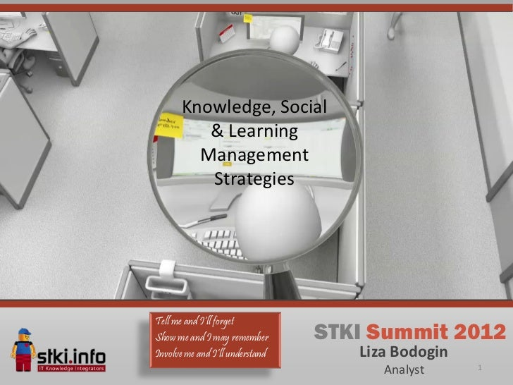 Knowledge, Social          & Learning         Management          StrategiesTell me and I'll forgetShow me and I may remem...