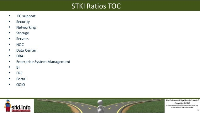 STKI Ratios TOC•   PC support•   Security•   Networking•   Storage•   Servers•   NOC•   Data Center•   DBA•   Enterprise S...