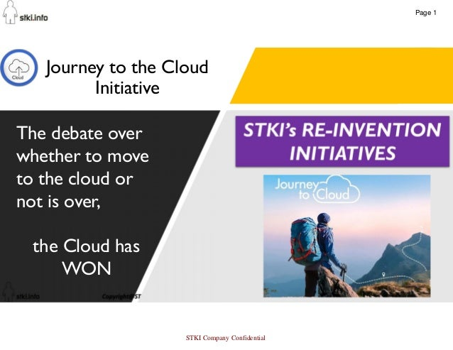 57 Journey to the Cloud Initiative The debate over whether to move to the cloud or not is over, the Cloud has WON Page 1 S...
