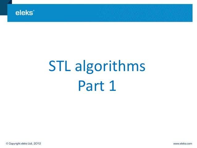 STL algorithms    Part 1