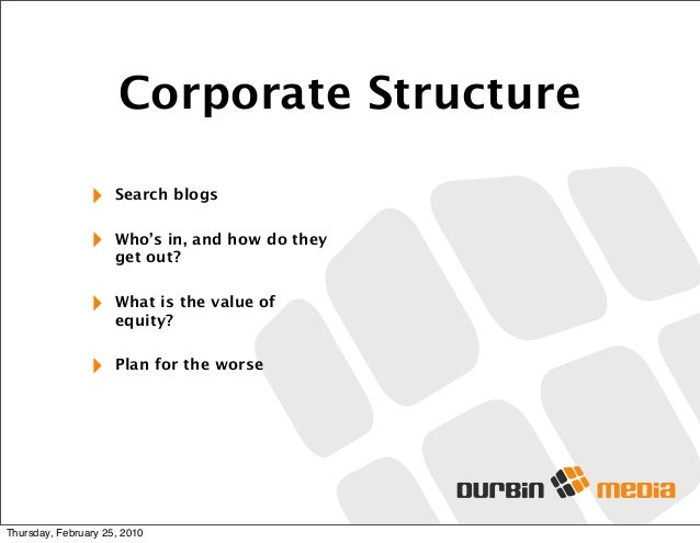 Corporate Structure ‣ Search blogs ‣ Who's in, and how do they get out? ‣ What is the value of equity? ‣ Plan for the wors...