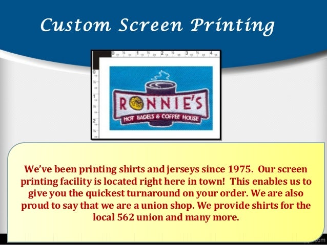 View presentation of stl shirt company for custom screen for Local t shirt printing companies