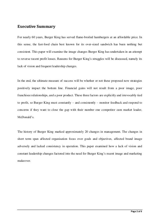 burger king case study analysis This case study shows how the company has achieved these goals in a difficult trading environment summary • mcdonald's has, to a great extent,  analysis.