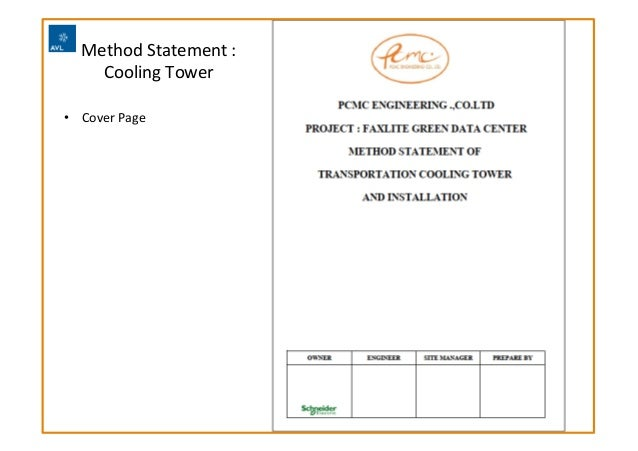 Method  Statement  :   Cooling  Tower     PCMC  Engineering  Co.,  Ltd   • Cover  Page