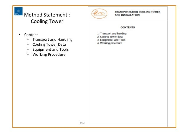 Method  Statement  :   Cooling  Tower     PCMC  Engineering  Co.,  Ltd   • Content   • Transport ...