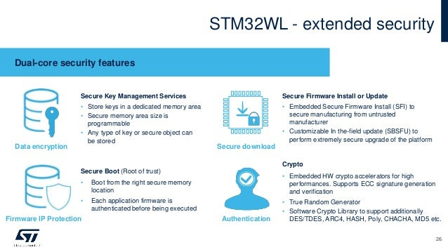 STM32WL - extended security Dual-core security features Secure Key Management Services • Store keys in a dedicated memory ...