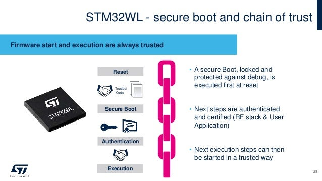 STM32WL - secure boot and chain of trust Firmware start and execution are always trusted • A secure Boot, locked and prote...