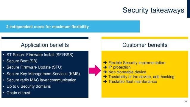 Security takeaways 36 • ST Secure Firmware Install (SFI/RSS) • Secure Boot (SB) • Secure Firmware Update (SFU) • Secure Ke...