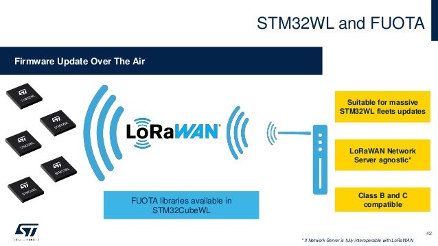 STM32WL and FUOTA Suitable for massive STM32WL fleets updates LoRaWAN Network Server agnostic* Class B and C compatible * ...