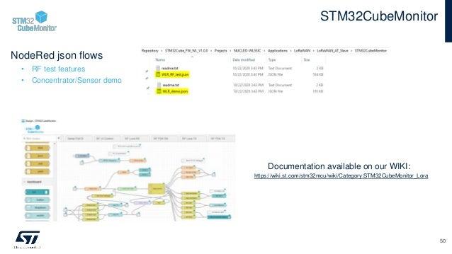 NodeRed json flows • RF test features • Concentrator/Sensor demo STM32CubeMonitor 50 https://wiki.st.com/stm32mcu/wiki/Cat...