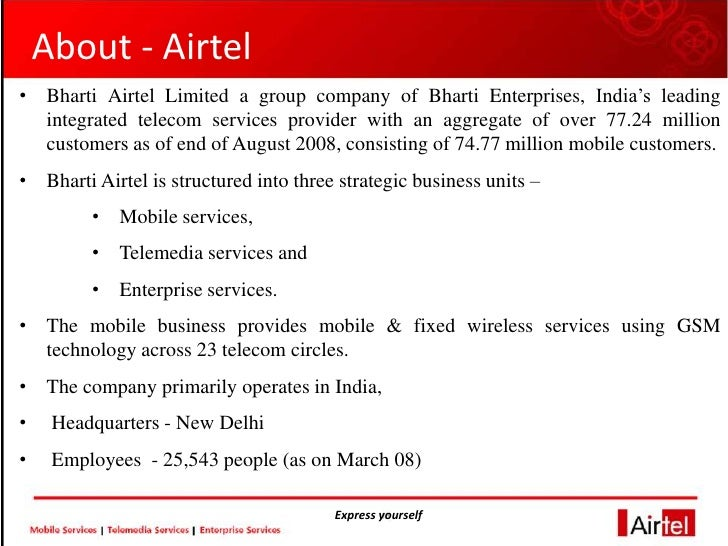 employees engagement at bharti airtel limited Employees engagement at bharti airtel limited owned by mr sunil bharti mittal, telecom giant bharti airtel is the flagship company of bharti enterprises.