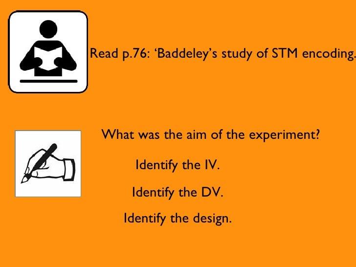 Baddeley study of encoding video
