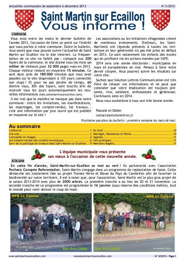 Actualités communales de septembre à décembre 2013  N°3/2013  L'éditorial  Vous avez entre les mains le dernier bulletin d...