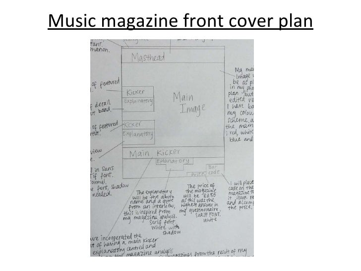 Music magazine front cover plan