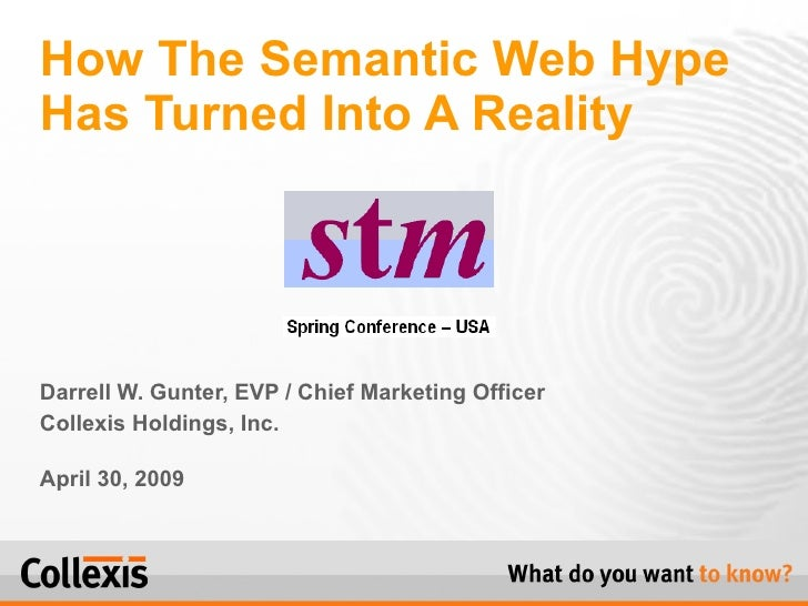 Darrell W. Gunter, EVP / Chief Marketing Officer Collexis Holdings, Inc. April 30, 2009 How The Semantic Web Hype Has Turn...