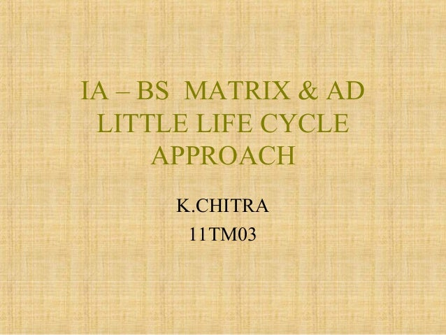 IA – BS MATRIX & AD LITTLE LIFE CYCLE APPROACH K.CHITRA 11TM03