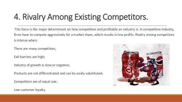 rivalry among the competitors Rivalry among existing firms is high - there are many players in different segments  of the industry, such as mars, mondelez international, kraft, ferrero, etc,.
