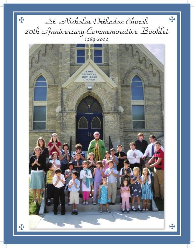 1St. Nicholas Orthodox Church • 20th Anniversary Commemorative Booklet St. Nicholas Orthodox Church 20th Anniversary Comme...