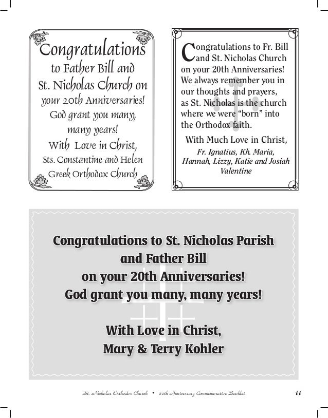 20th anniversary commemorative booklet st nicholas orthodox church