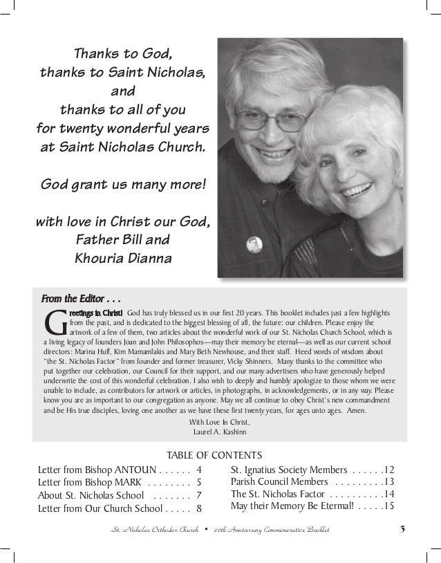20th anniversary commemorative booklet st  nicholas