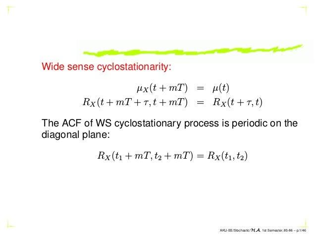 Wide sense cyclostationarity: µX(t + mT) = µ(t) RX(t + mT + τ, t + mT) = RX(t + τ, t) The ACF of WS cyclostationary proces...
