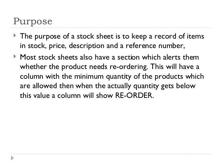 stock sheet