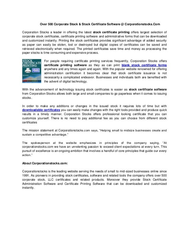 stock certificate software