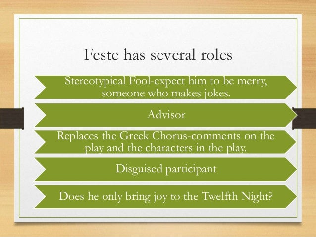 twelfth night feste essay Twelfth night essay by: sarah bricker love is usually seen as the cause of happiness, but love may also be the cause of suffering in this play there are.