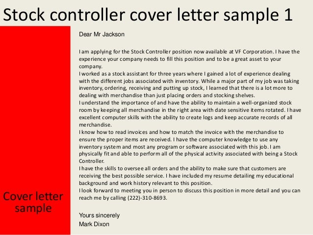 Stock Controller Cover Letter .