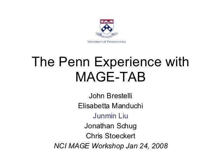 The Penn Experience with MAGE-TAB John Brestelli Elisabetta Manduchi Junmin Liu Jonathan Schug Chris Stoeckert NCI MAGE Wo...