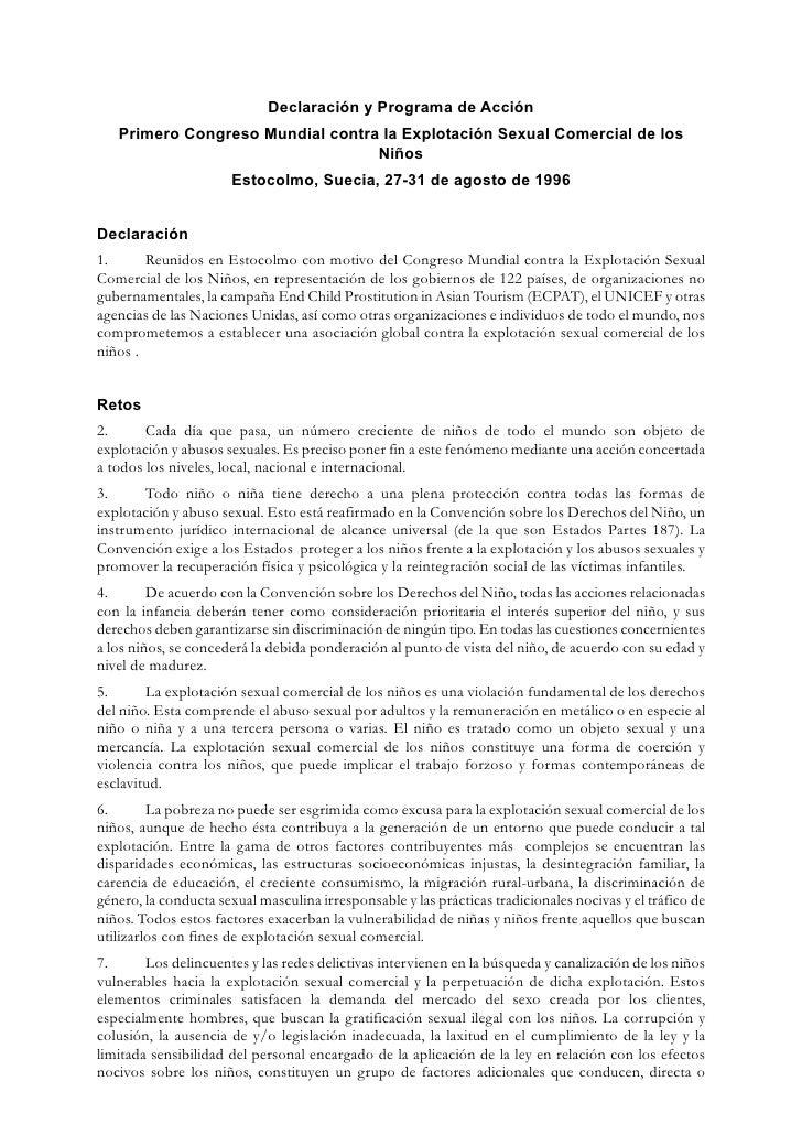 Declaración y Programa de Acción    Primero Congreso Mundial contra la Explotación Sexual Comercial de los                ...