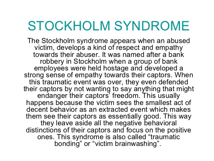 Stockholm syndrome in abusive relationships