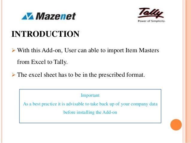 Stock item master import