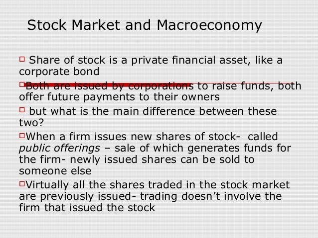 Stock Market and Macroeconomy  Share of stock is a private financial asset, like acorporate bondBoth are issued by corpo...