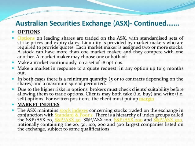 List of options traded on asx