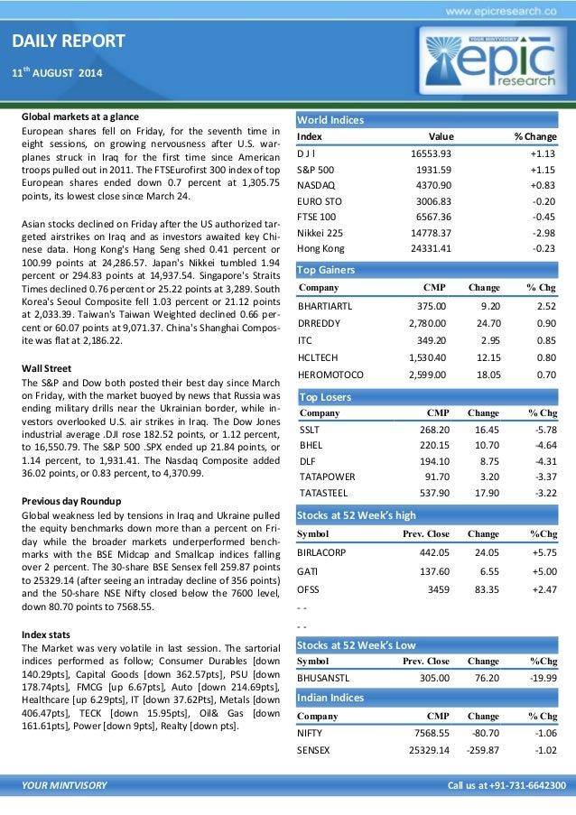DAILY REPORT 11th AUGUST 2014 YOUR MINTVISORY Call us at +91-731-6642300 Global markets at a glance European shares fell o...