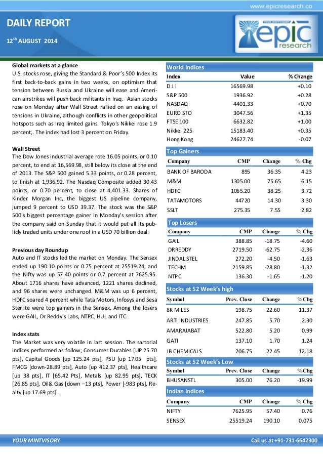 DAILY REPORT 12th AUGUST 2014 YOUR MINTVISORY Call us at +91-731-6642300 Global markets at a glance U.S. stocks rose, givi...