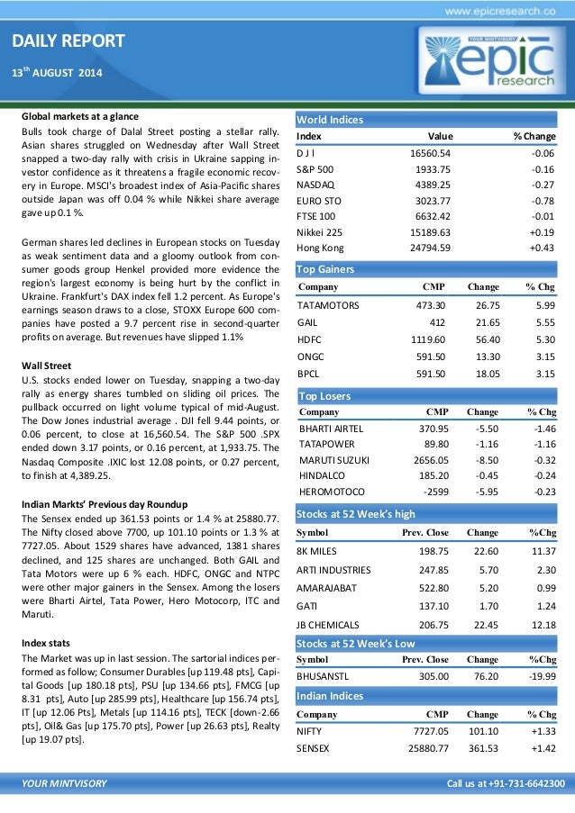 DAILY REPORT 13th AUGUST 2014 YOUR MINTVISORY Call us at +91-731-6642300 Global markets at a glance Bulls took charge of D...