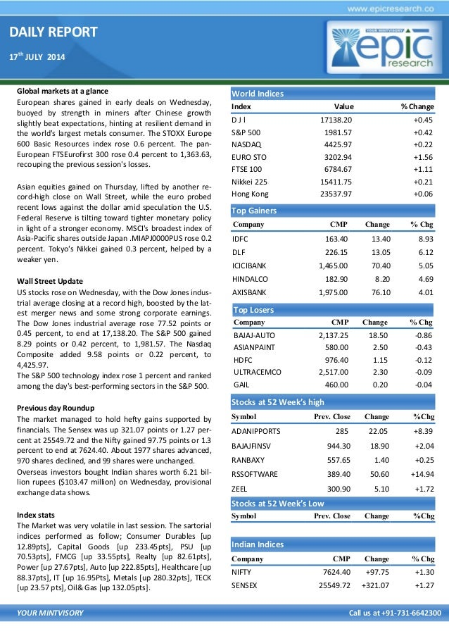 DAILY REPORT 17th JULY 2014 YOUR MINTVISORY Call us at +91-731-6642300 Global markets at a glance European shares gained i...