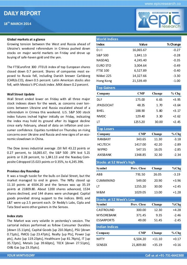 DAILY REPORT 18th MARCH 2014 YOUR MINTVISORY Call us at +91-731-6642300 Global markets at a glance Growing tension between...