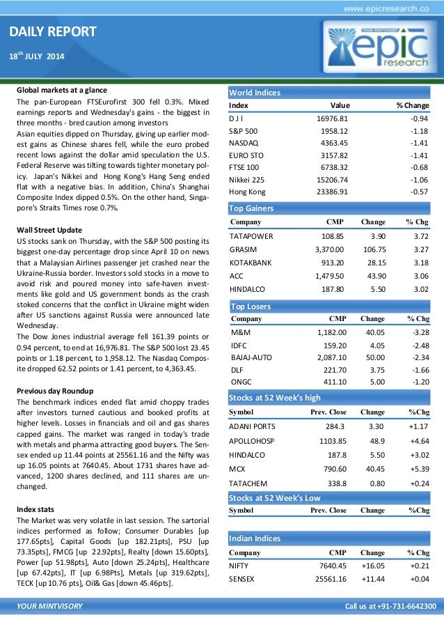 DAILY REPORT 18th JULY 2014 YOUR MINTVISORY Call us at +91-731-6642300 Global markets at a glance The pan-European FTSEuro...