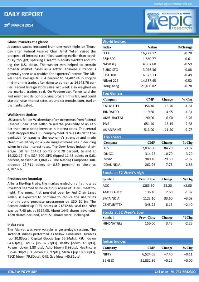 DAILY REPORT 20th MARCH 2014 YOUR MINTVISORY Call us at +91-731-6642300 Global markets at a glance Japanese stocks retreat...