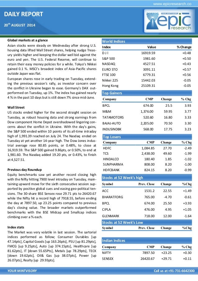 DAILY REPORT 20th AUGUST 2014 YOUR MINTVISORY Call us at +91-731-6642300 Global markets at a glance Asian stocks were stea...